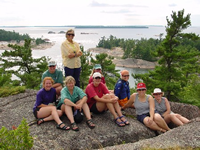 Group sitting on rocks